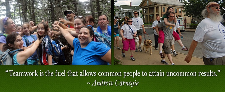 Two photos side by side. Left photo is large group of hikers huddling on a summer trail in the White Mountains, including Randy and Tracy. Right photo shows Randy and Quinn with about 8 other NHAB Walk for Sight walkers on a Concord NH sidewalk, (from a prior year). Quote on bottom from Andrew Carnegie says: 'Teamwork is the fuel that allows common people to attain uncommon results.'