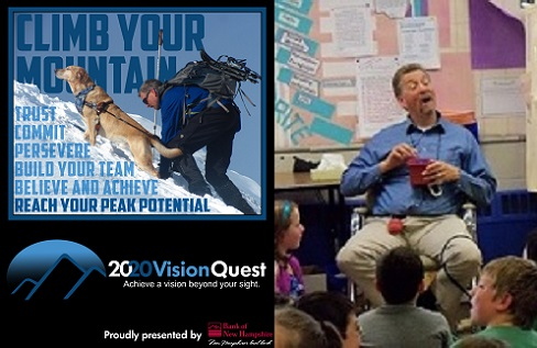 A split image, with the Bank of New Hampshire Reach Your Potential poster on the left and Randy presenting to a classroom on the right