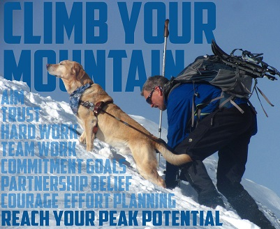 The picture features Randy and Quinn in an epic shot as they summit Mt. Monroe in winter, with inspirational words in the background
