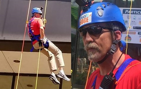 A split image, with Randy rappelling off the building on the left and a close-up of him (complete with helmet and harness) on the right.